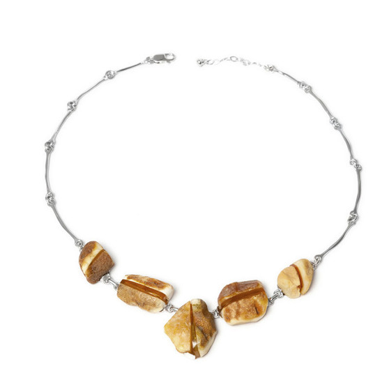 Silver Amber Collar Necklace Sterling Silver Baltic Honey Amber Necklace wild butterscotch amber in an elegant form! raw amber look, unique jewelry design, one of a kind. jewelry with genuine baltic amber