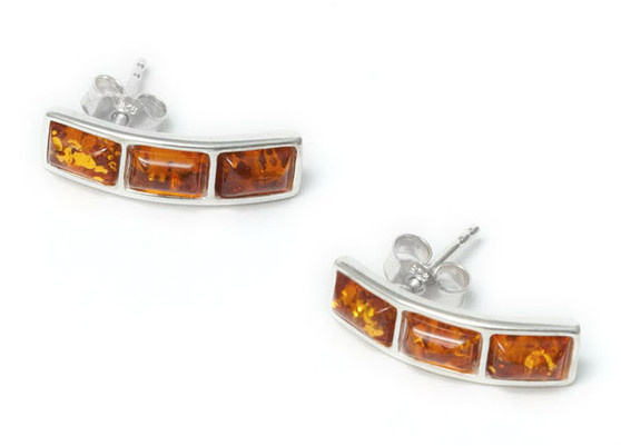 Honey Baltic Amber and Sterling Silver Triple Rectangular Stud Earrings Silver stud earrings, featuring a rectangular amber pieces.