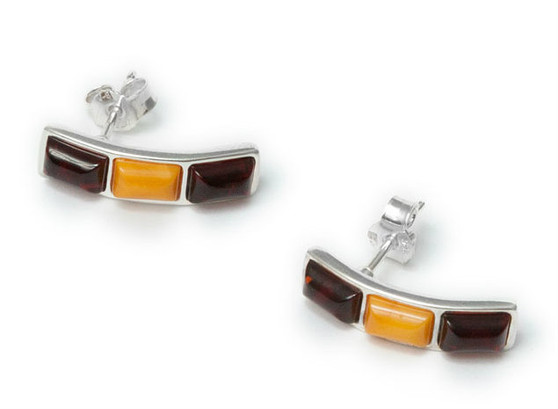 Cherry and Milky Baltic Amber and Sterling Silver Triple Rectangular Stud Earrings These earrings are modern and elegant