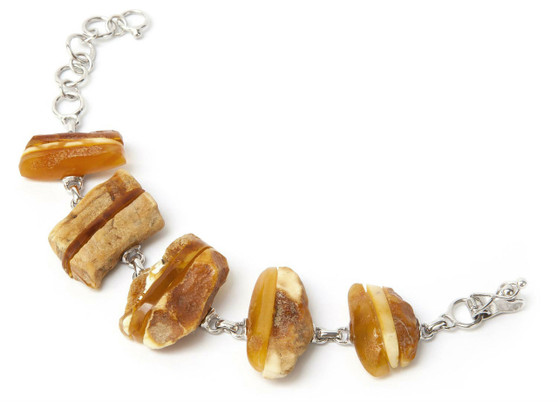 Baltic Honey Amber Bracelet with Sterling Silver. Elegant and unique.  Eye-catching. Baltic amber jewellery for adults.