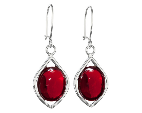 Silver Cherry red amber dangle earrings. Perfect match for any occasion!