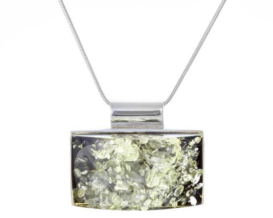 Green Baltic Amber Necklace. Contemporary Rectangle Pendant