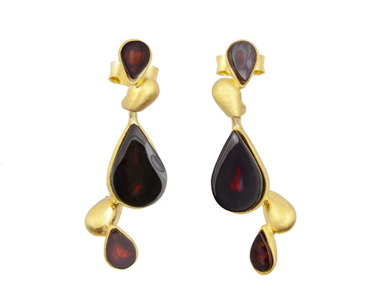 Gold Plated Silver Natural Amber Earrings