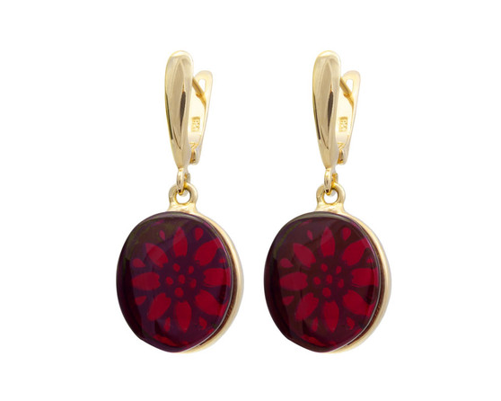 Cherry red Amber Earrings. Decorative back side