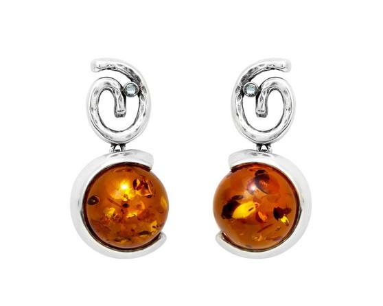 Silver Swirl and Honey Cognac Amber Stud Earrings