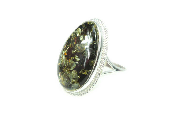 Big Green Oval Amber Cocktail Ring
