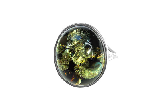 Green Amber Statement Ring