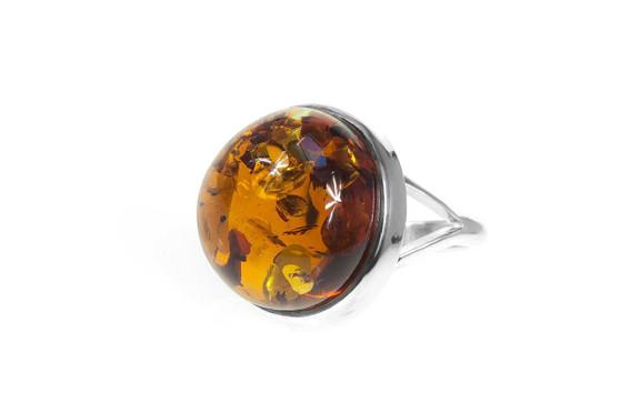 Silver Cognac Amber Adjustable Ring