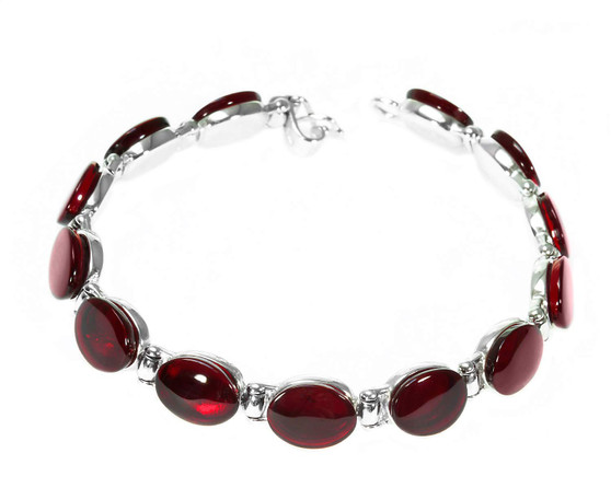 Cherry red amber link bracelet. Genuine amber collection
