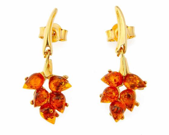 Cognac Amber Earrings Amber Leaf Drop Earrings