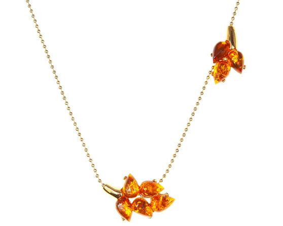 Gold Plated Silver Amber Asimmetrical Necklace