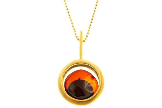 Cognac Amber Subtle Pendant Necklace