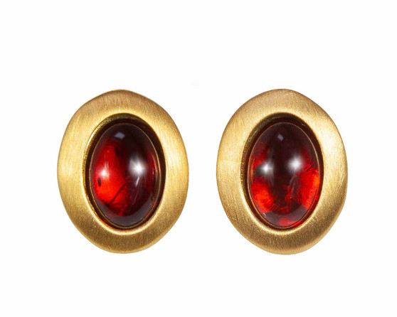 Cognac Amber Classic Oval Earrings