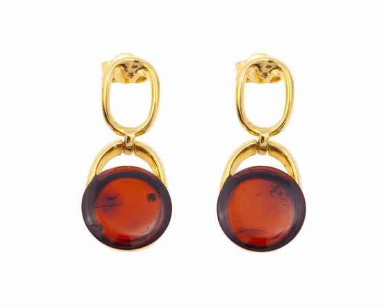 Cognac Amber Elegant Drop Earrings
