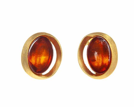 Cognac Amber Oval Earrings