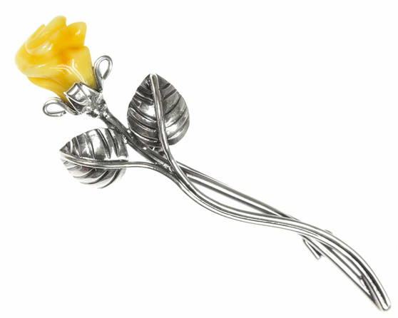 Silver Butterscotch Amber Rose Brooch