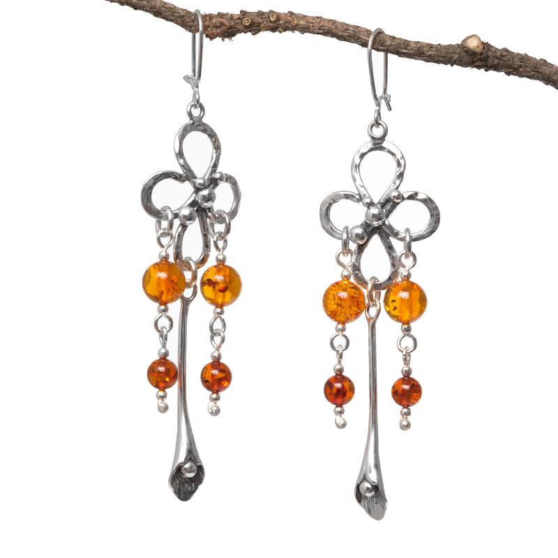 Amber Dangle Earrings Sterling Silver Chandelier Boho Earrings