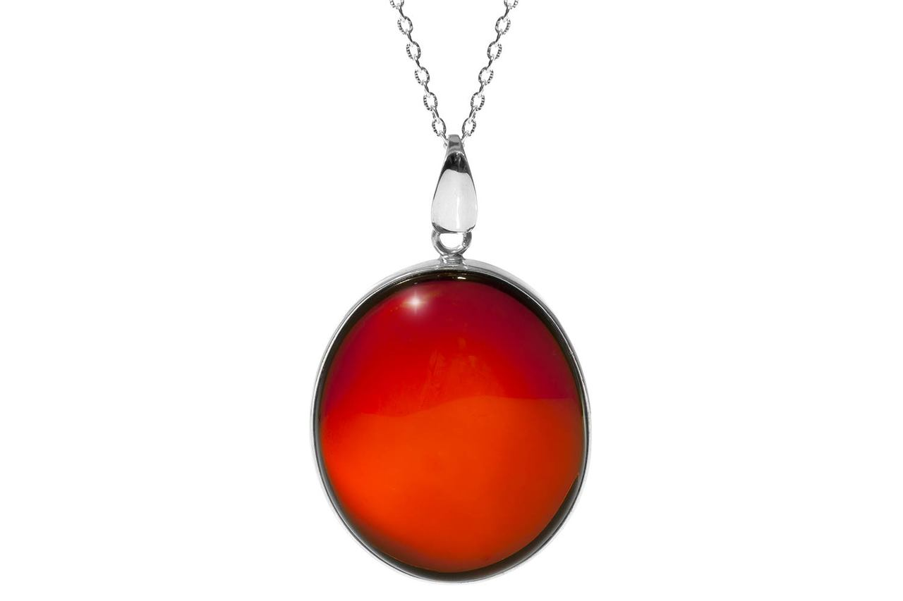 Cherry Amber Sterling Silver Classic Pendant Necklace Chain 18