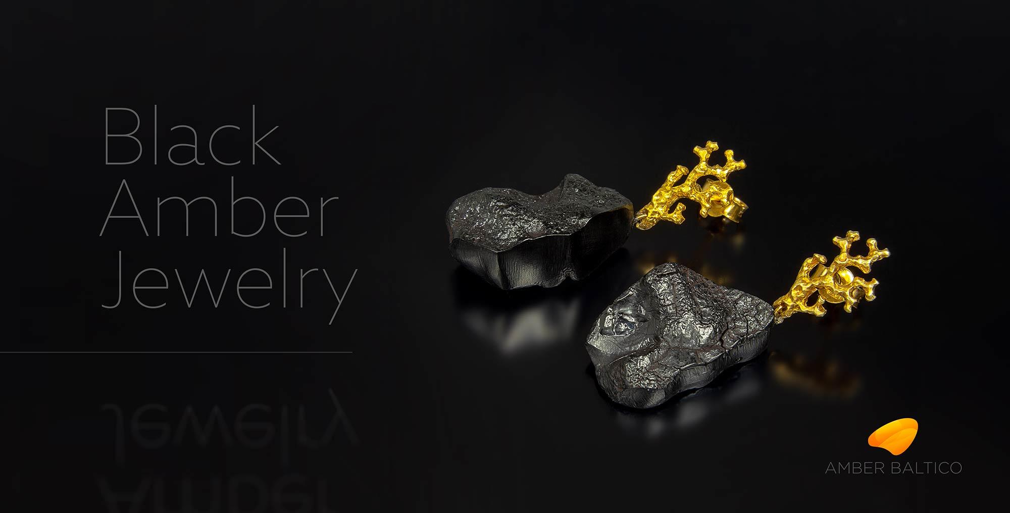 Black amber earrings, Black Amber Jewelry