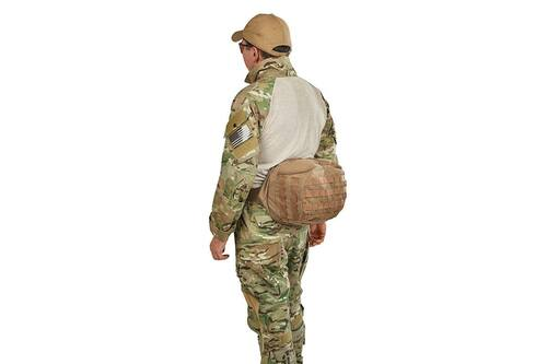 Soldier wearing the lid from Kelty Eagle Backpack, Coyote Brown on his waist, fanny-pack style