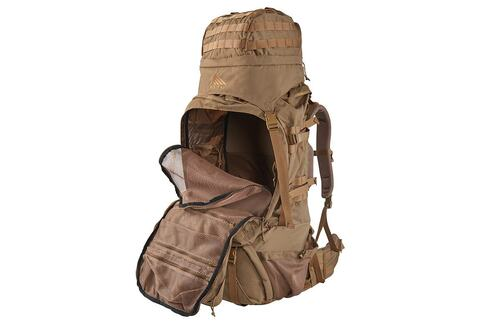 Kelty Eagle Backpack, Coyote Brown, partially unzipped to show interior of pack