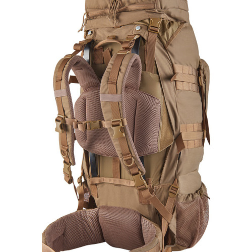 Kelty Eagle Backpack, Coyote Brown, alternate rear view, showing padded shoulder straps and waistbelt