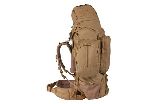 Kelty Eagle Backpack, Coyote Brown, side view with lid fully packed and removable side pocket attached