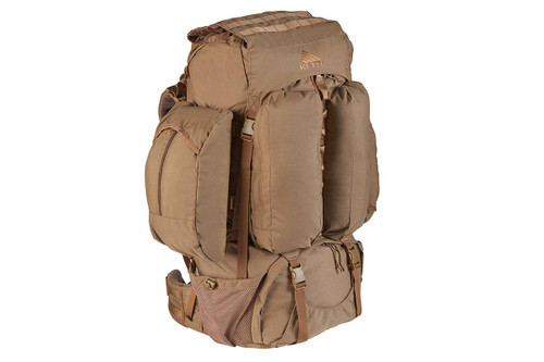 Kelty Eagle Backpack, Coyote Brown, with lid not packed and removable side pocket attached
