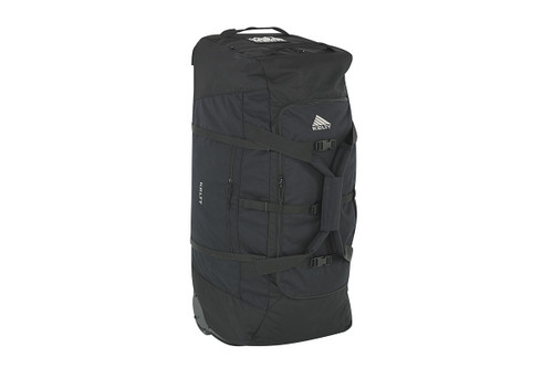 Kelty BRT Import rolling trunk, black colorway, standing on end, 3/4 view