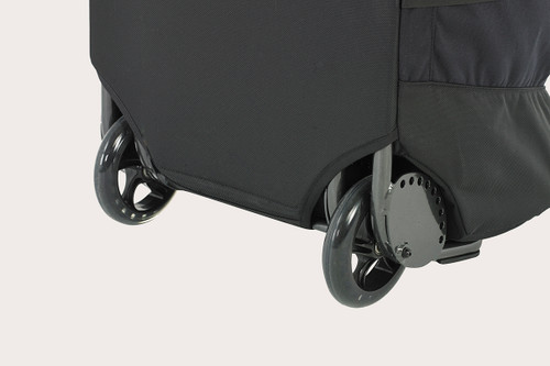 Close up view of Kelty BRT Import rolling trunk wheels