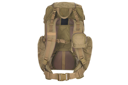 Kelty Raven 2500 backpack, Coyote Brown, rear view, showing padded shoulder straps and waist strap