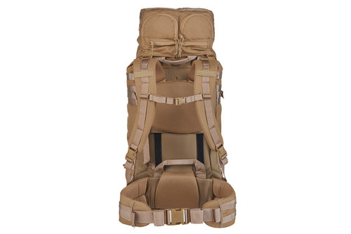 Kelty Falcon 4000 backpack, Canyon Brown, rear view showing padded shoulder straps and waistbelt