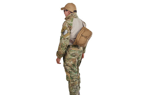 Soldier wearing lid from Kelty Falcon 4000 backpack on his back, sling-style