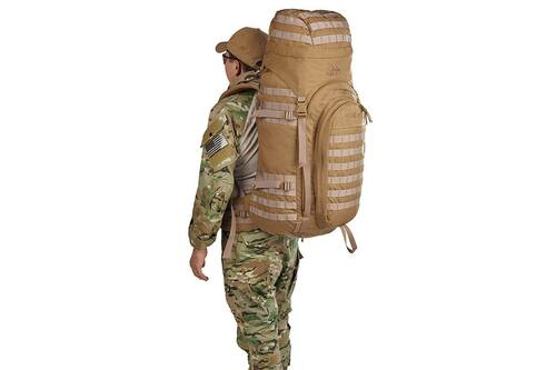Soldier wearing Kelty Falcon 4000 backpack, Canyon Brown