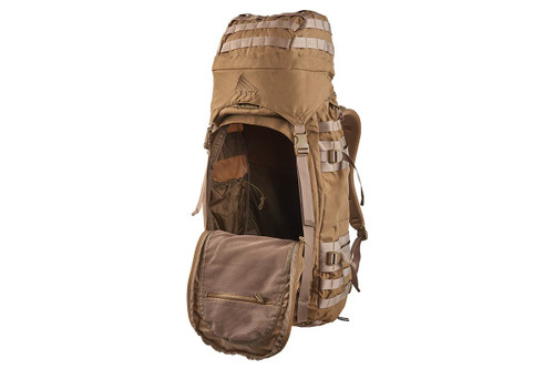 Kelty Falcon 4000 backpack, Canyon Brown, with front compartment unzipped to show interior of pack