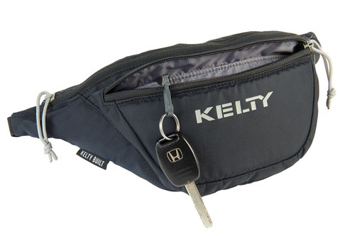 Kelty Warbler waist pack, black, unzipped to show key attached to built-in keyring