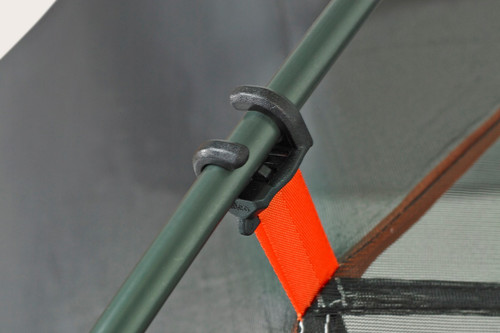Close up of the Kelty Outfitter Pro 3 person tent, showing tent pole attached to tent body with a plastic clip