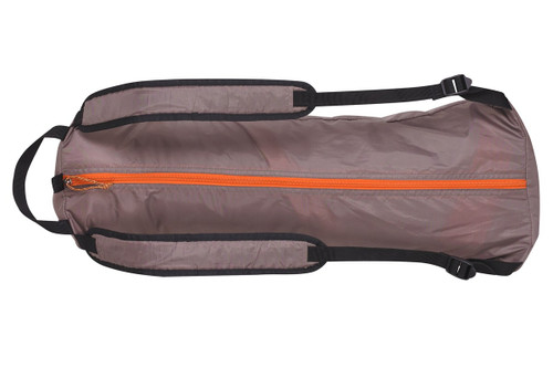 Kelty Shade Maker 2 sun shelter, shown packed in tan backpack-style carrying bag