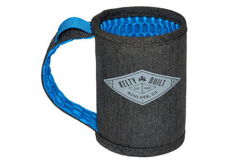 Kelty Can Beverage Sleeve, dark gray with blue interior, empty