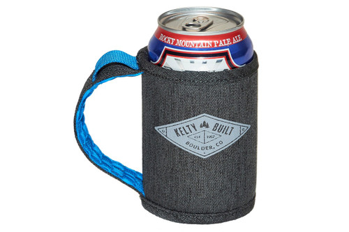 Kelty Can Beverage Sleeve, dark gray with blue interior, shown holding a 12 oz. can of beer