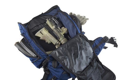 Close up of Kelty Redwing 50 USA backpack, opened to show partially disassembled AR-15 in large main storage compartment