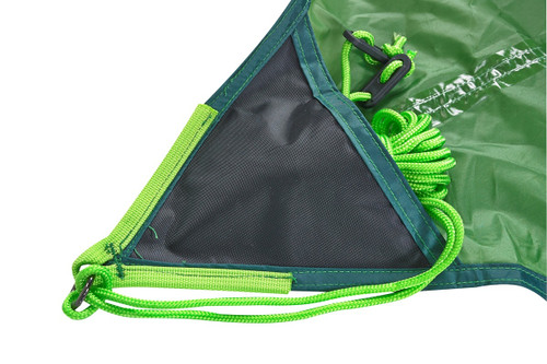Close up of Kelty Noah's tarp, showing corner reinforcement panel and bright green nylon guyline