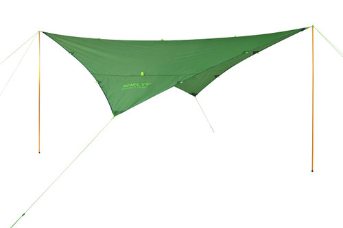 Kelty Noah's Tarp, green, shown guyed out and attached to Kelty Staff Poles, which are not included with product