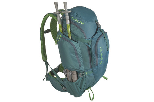 Kelty Redwing 44 backpack, top/side view, showing trekking poles packed behind the side storage pocket
