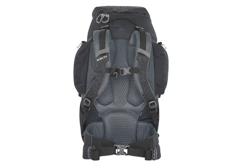 Kelty Women's Redwing 40 backpack, black, rear view, showing padded shoulder straps and waist belt