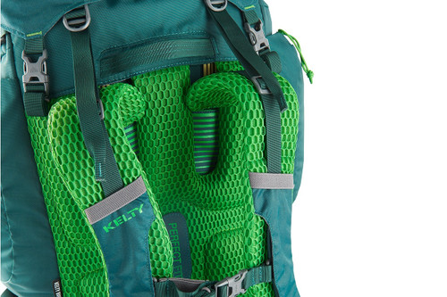 Close up of Kelty Coyote 80 backpack, Ponderosa Pine, showing bright green mesh shoulder straps