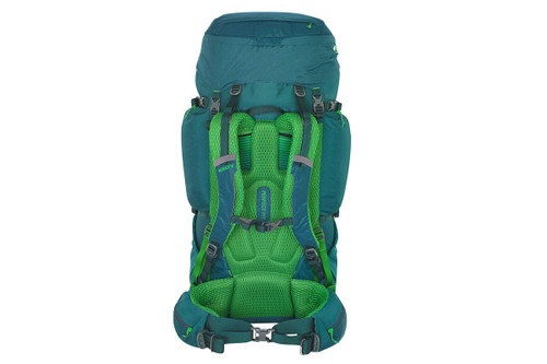 Kelty Coyote 80 backpack, Ponderosa Pine, rear view, showing padded shoulder straps and waist belt
