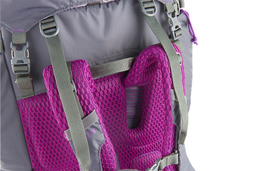 Close up of Women's Coyote 70 backpack, showing load lifter straps