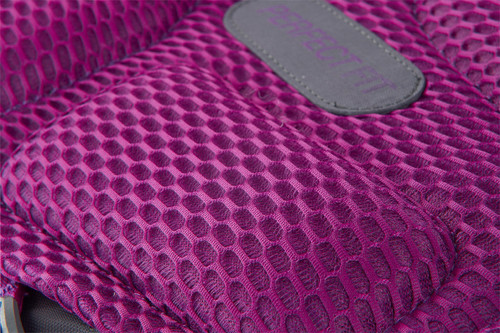 Close up of Women's Coyote 70 backpack, showing pink padded mesh back panel