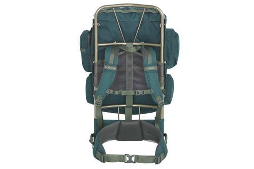 Kelty Yukon 48 external frame backpack, green, rear view